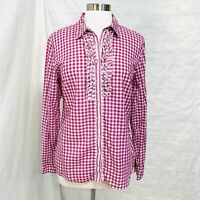 NWT ZARA SS17 FUCHSIA GINGHAM CHECK TOP WITH RUFFLED SLEEVES/_XS S M XL