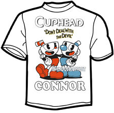 CUSTOM CUPHEAD MUGHEAD T SHIRT ADD NAME  BIRTHDAY DON'T DEAL WITH THE DEVIL