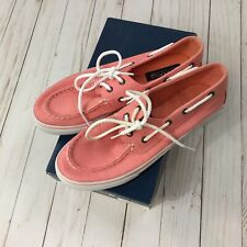 Sperry Topsiders Girls Bahama Coral Plaid sz 6M