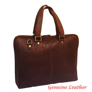 """Genuine Oiled Leather Large 16"""" Laptop Business Messenger Bag Brown RRP £ 249.00"""
