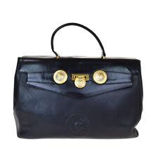 Authentic GIANNI VERSACE Logo Hand Bag Leather Black Gold-Tone Vintage 65ET090