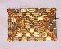 Antique Rhinestone Brooch Champagne Gold Orange Large Statement 3D Pin Vtg Minte