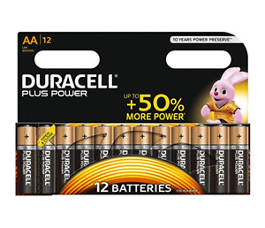 12x Duracell AA Batteries, Plus Power, Cells, Double A, Duracell Bunny, Extra