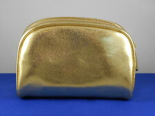 Bareminerals Metallic Gold Faux Leather Zip Top Dome Cosmetic Makeup Bag