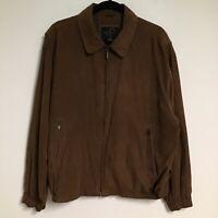 Mens Weatherproof Garment Co Micro Suede Brown Full Zip Bomber Coat Jacket Large
