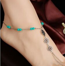 """10"""" Flower Barefoot Sandal Silver Chinese Knot Ankle Chain Anklet Gift PP1"""