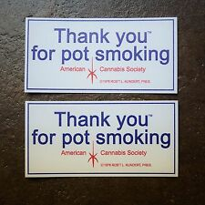 "Throw Back Thank You For Pot Smoking® - 2"" x 4"" Vinyl Sticker - 2 Pack"
