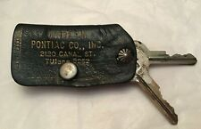 1958 (?) Pontiac Car Keys (2) & Leather Case Holder Pattison 2120 Canal St. NOLA