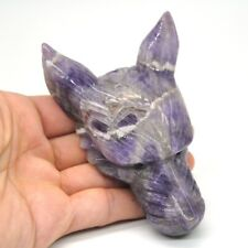 "4"" Wolf Head Statue Healing Natural Gemstone Amethyst Quartz Pendant Decor Gift"