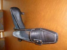 Stuart Weitzman black textured leather shoes Kitten Heel Style Fashion