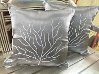 Cotton Cushion Covers Metallic Grey White Hand Made Tree Embroidery (pair) 40cm