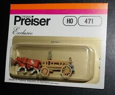 Preiser, HO scale, Hay wagon with  2 men, 471, new in box