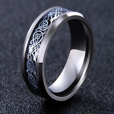 Men's Silver Celtic Dragon Titanium Stainless Steel Wedding Band Rings Vogue