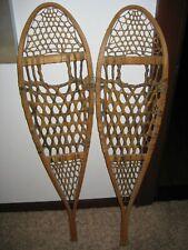 Vintage Wood Northwoods Safesport Canada Denver Leather Snowshoes Cabin Snow Ski