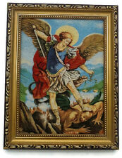 K#   LARGE FRAMED EMBROIDERED PICTURE ARCHANGEL CHRISTIAN ART RELIGIOUS