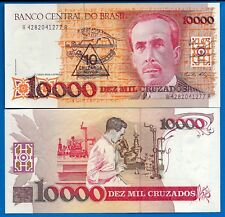 Brazil P-218 10 Cruzados Novos on 10,000 Cruzados Year ND  Uncirculated Banknote