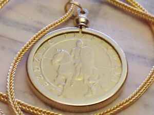 """2006 Polish Calvary Mounted Piast Knight Coin Pendant w 28"""" 18KGF Foxtail Chain"""