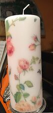 RAMBLING ROSE PiNK Hand Decorated Pillar Candle -/+90hrs 18x6.5cm