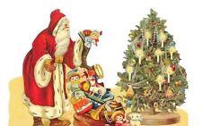 Antique style Die Cut Scrap Hand Glittered Santa Claus Scrapbook projects