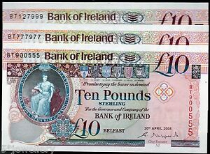 bank of ireland ltd belfast £10 ten banknotes 2000 2005 2008 real currency notes