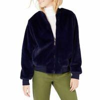 SAY WHAT NEW Women's Faux-fur Front-zip Plush Bomber Jacket Top TEDO