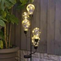 Solar Power Outdoor LED Festoon Bulb Stake Lights | Walkway Path Landscape