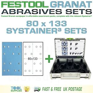 Festool GRANAT 80 x 133 Sandpaper Systainer³ Sets, RTS C 400 LS 130 HSK A 80x130