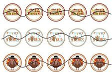 Precut Printed 15 Gobble Thanksgiving Turkey cap images bow centers