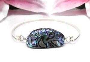 Abalone Shell Bracelet - Sterling Silver Shell Cuff Bangle Bracelet