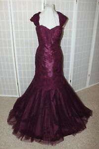 NWT Tulle & Lace mermaid beaded formal gown, Size 12, Plum Mon Cheri 214956