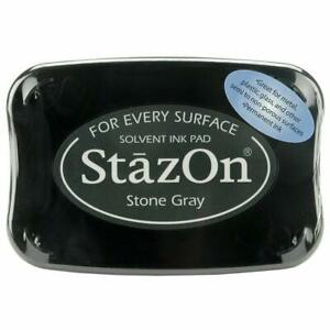Tsukineko StazOn Permanent Solvent Ink Pad Glass Metal Plastic Stone Gray Grey