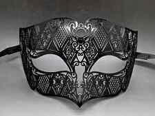 Male Black Laser Cut Venetian Masquerade Metal Filigree Mask Men
