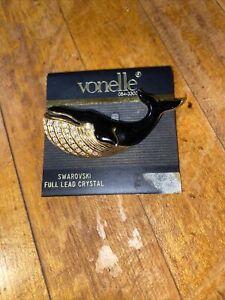 Swarovski Brooch Crystal and Enamel Whale Brooch Gold Tone Vintage Jewelry