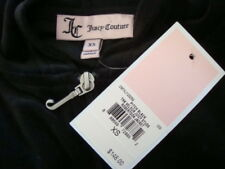 NWT$148 JUICY COUTURE Hoodie Back Studded Velvet Pitch Black Jacket Sz XS