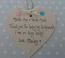 Personalised Godparents Thank you Christening  keepsake present gift handcrafted