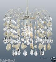 CREAM & CLEAR ACRYLIC CRYSTAL DROPLET  CASCADE PENDANT LIGHT SHADE LAMPSHADE