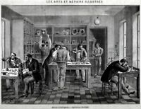 Laboratorio di Orologeria. Grande Veduta. Stampa Antica + Passepartout. 1880