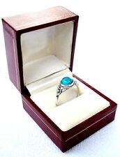 Elegant Vintage Band Ring Silver 925 With Turquoise Lady Measures 18mm = Size 8
