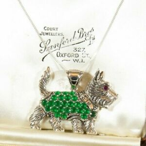 Sterling Silver Scottie Westie Pendant Necklace with Emerald Fleece Coat and Rub
