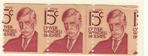 US EFO Scott #1305E 15c Holmes Coil strip of 3 major misperf mint! (2)