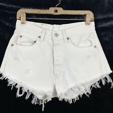 Levis 29 in Cut Off Shorts Vintage? Distressed Button Fly Off White Denim Womens