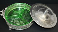 Vtg M.W. Carr & Co EMPIRE WARE Green Depression Glass Silver Plate Covered Dish