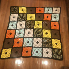 "Handmade Crochet 36 Granny Square Afghan Blanket 58"" x 58"" Huge Multi Colored"