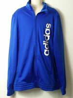 BOYS ADIDAS AGE 15-16 YEARS BLUE & WHITE ZIP UP TRACKSUIT TOP JACKET