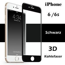3D Full Cover Panzerglas Displayschutz Folie Kohlefaser für iPhone 6/6s Schwarz