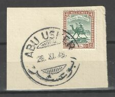 Sudan British 1948 4m with Scarce Abu Usher Cancel on Piece Vf Used
