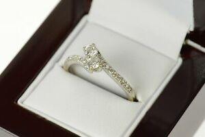 14K 0.78 Ctw Diamond Bypass Engagement Ring Size 9.5 White Gold *16