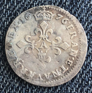 France, 1636 4 Sold Silver Louis XIV Very Nice Old Coin