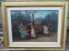 Ancienne huile sur toile scène romantique, galante, signé, oil on canvas