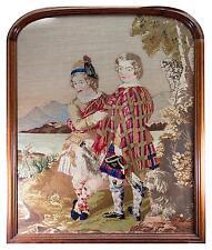 HUGE Antique Victorian Needlepoint Tapestry, Fine Walnut Frame, Scottish Kilts